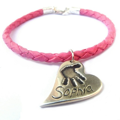 Pink Leather Bracelet | Handprint Charm
