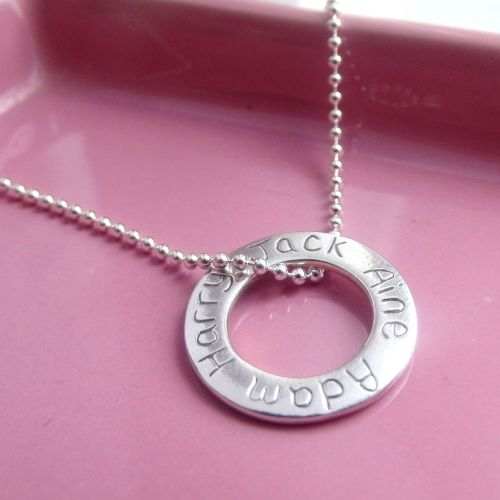 Large Personalised Message Ring Necklace