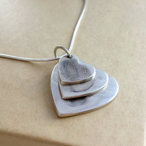 handmade fine silver personalised fingerprint necklace by love lily rose b