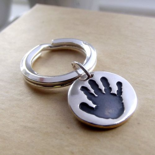 Silver Handprint or Footprint Keyring