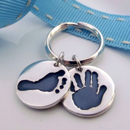 Double Charmed Handprint & Footprint Keyring