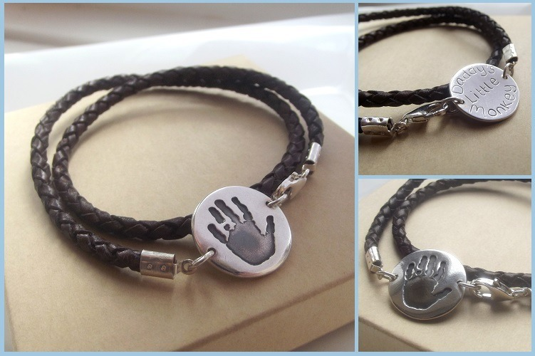 Mens Large Disc handprint Bracelet
