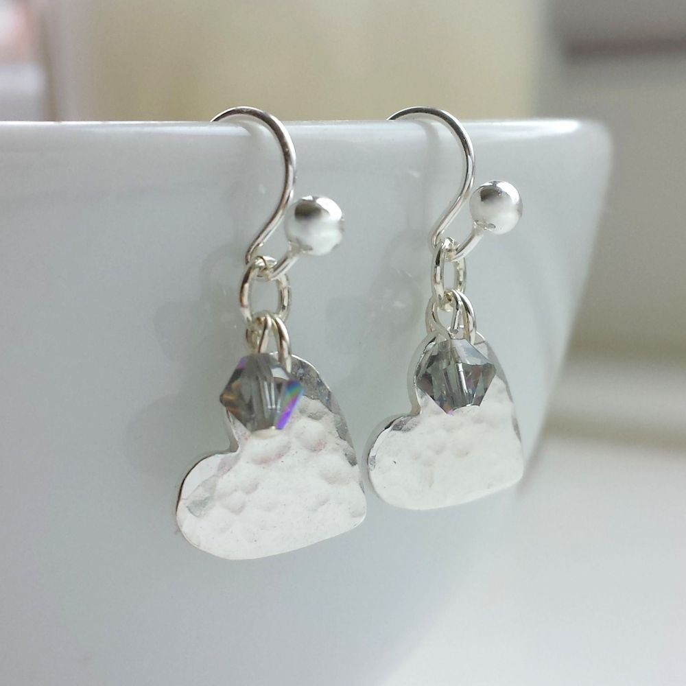 Hammered Silver Heart and Crystal Drop Earrings