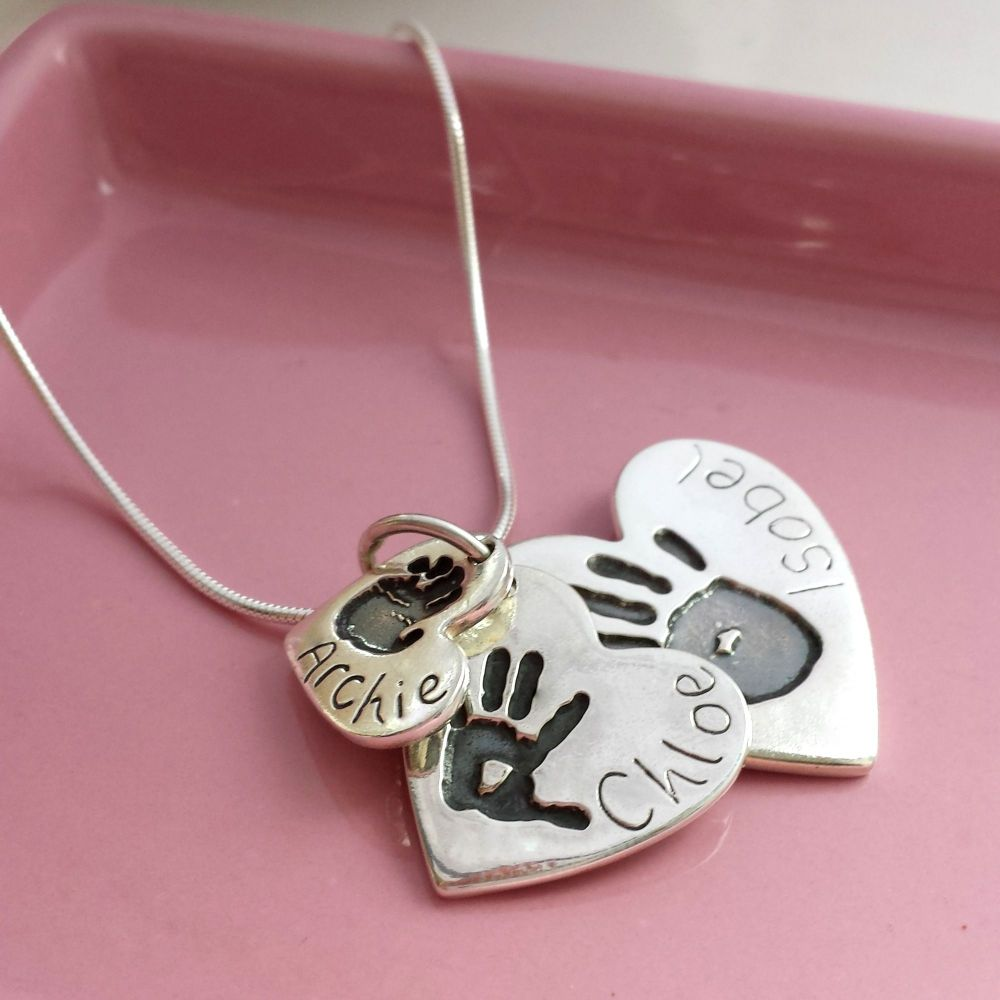 Triple Handprint and Footprint Necklace - Heart