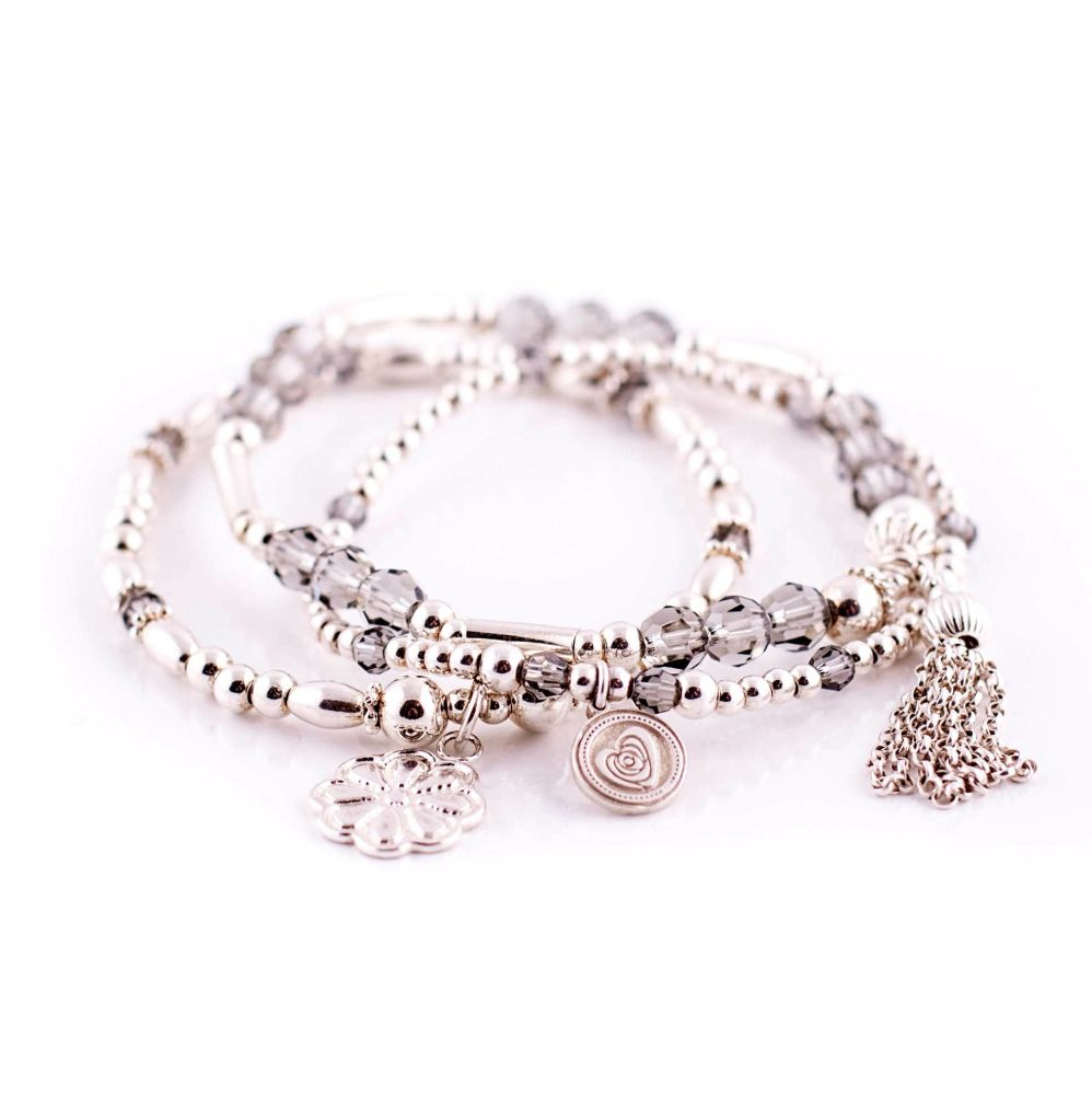 Black Diamond Silver Bracelet Trio