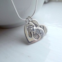 Double Handprint & Footprint Necklace