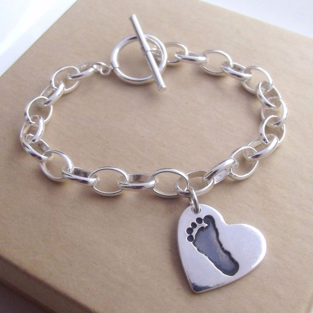 Sterling Silver Hand and Footprint Charm Bracelet