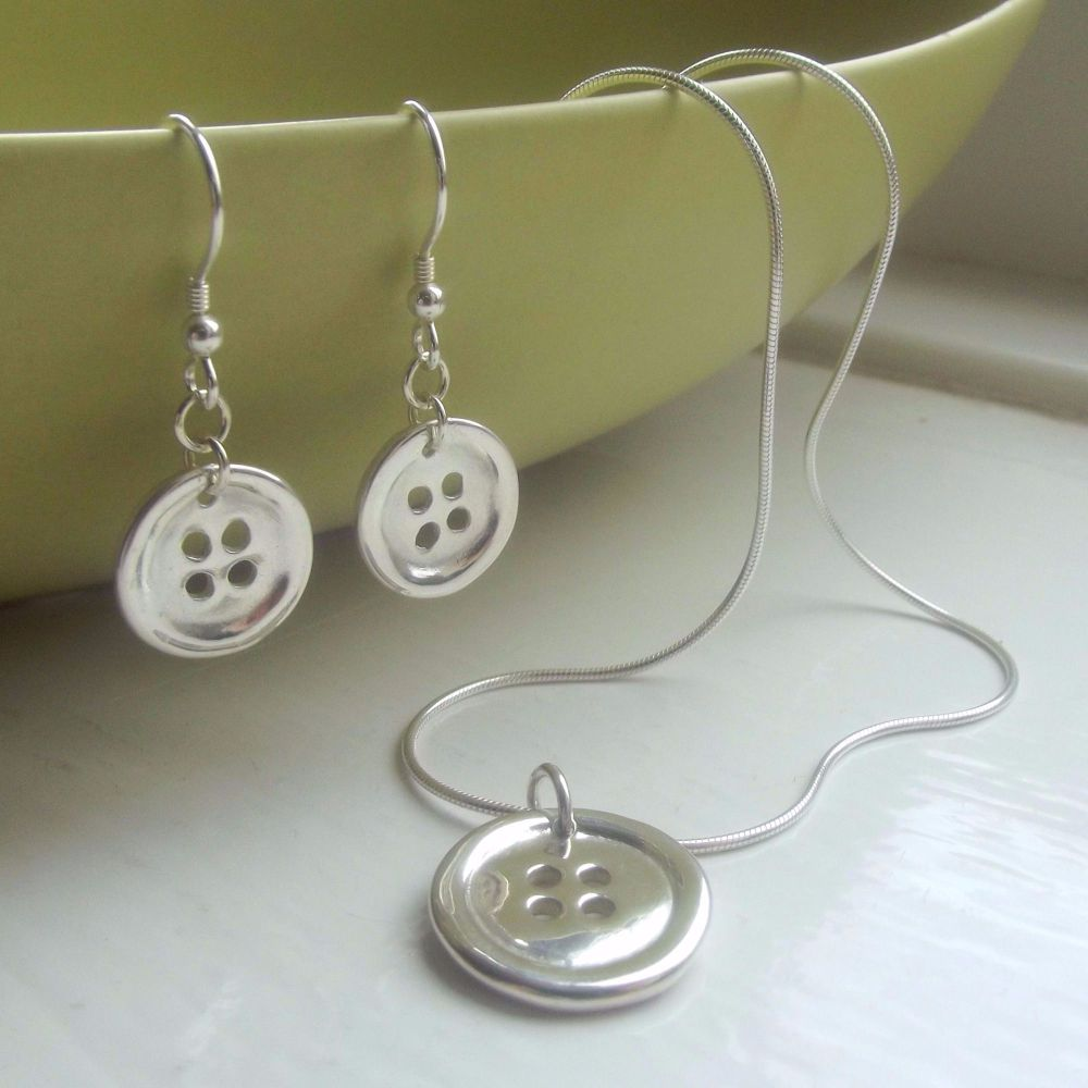 Personalised Silver Button Jewellery Set