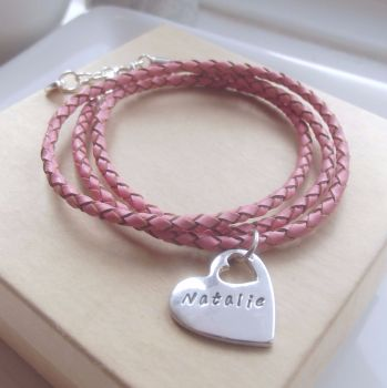 Personalised Silver Heart Charm Leather Bracelet