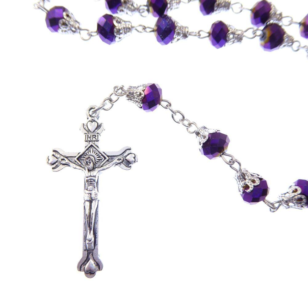 Dark purple petrol effect iridescent faceted glass rosary beads filigree ca