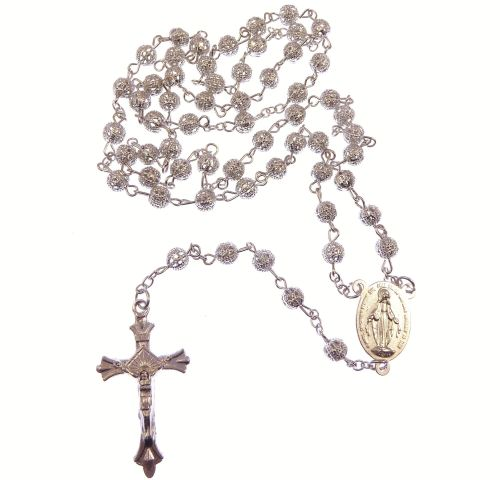 Silver metal decorative filigree rosary beads Miraculous and Sacred heart c