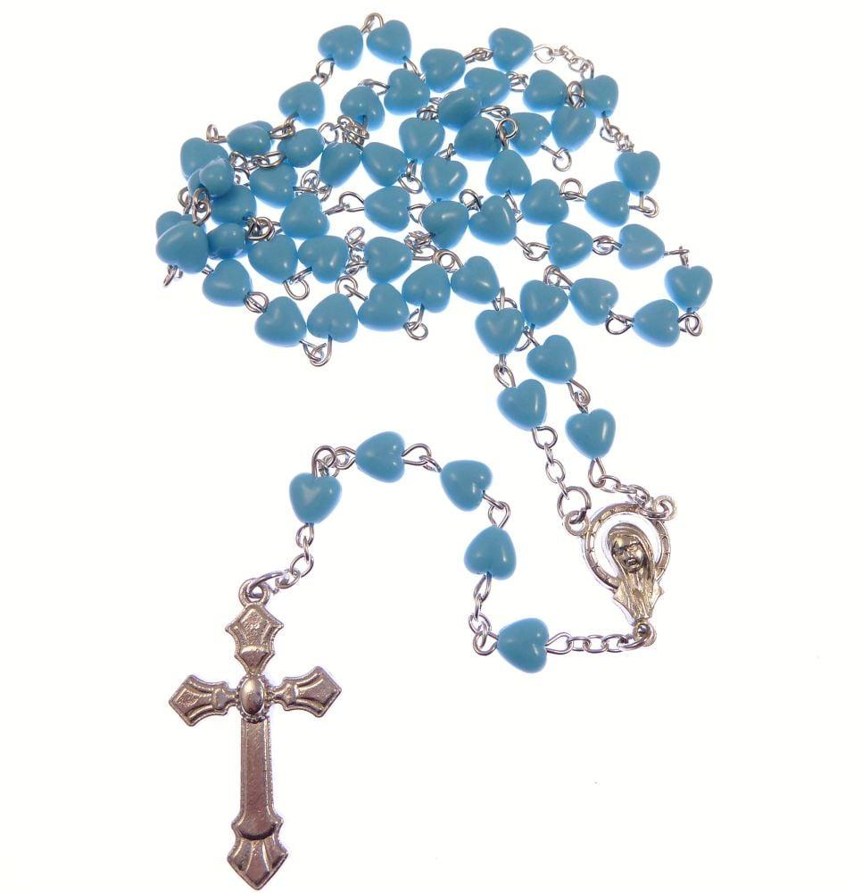 Catholic blue glass heart rosary beads on silver chain 5 decade 51cm length