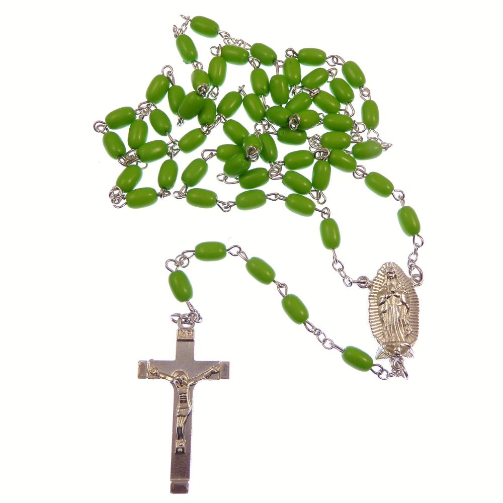 Catholic long Our Lady of Guadalupe green rosary beads silver chain 58cm le