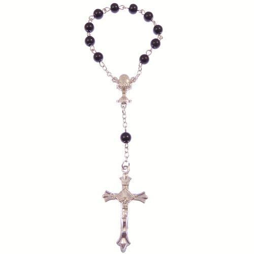 Black round glass one decade pocket rosary beads decenary chalice center