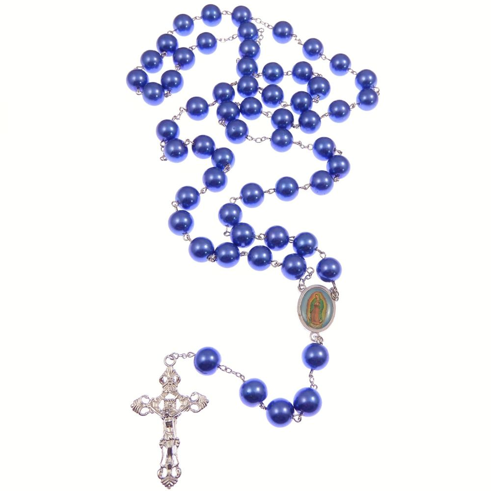 Very large pearlescent blue glass rosary beads Our Lady of Guadalupe