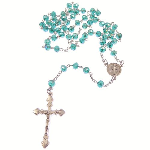 Dark green iridescent faceted glass rosary beads silver chain St. Benedict