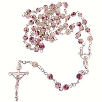 White & red marble round glass rosary beads on silver chain 51cm length