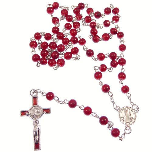 Round red St. Benedict cross rosary beads silver chain 50cm length Catholic
