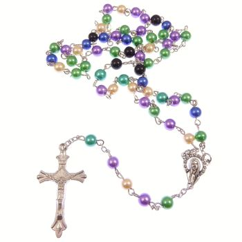 Multi-colour pearlescent rosary beads purple green blue cream black 50cm