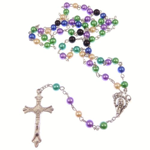 Multi-colour pearlescent rosary beads purple green blue cream black 50cm