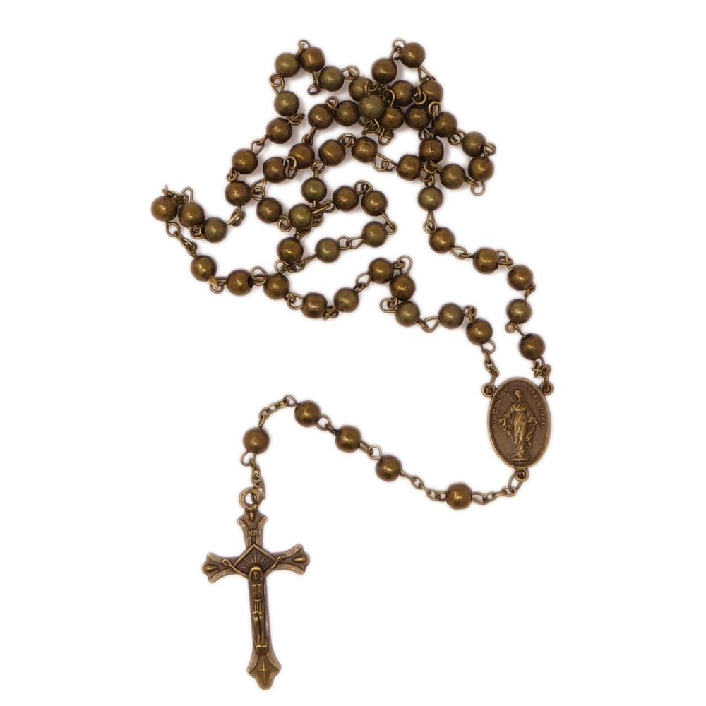 Bronze colour metal rosary beads St. Therese Virgin of the Smile center 48c