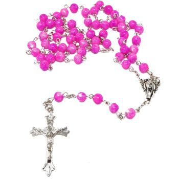 Pink & white marble glass rosary beads on silver chain 50cm length