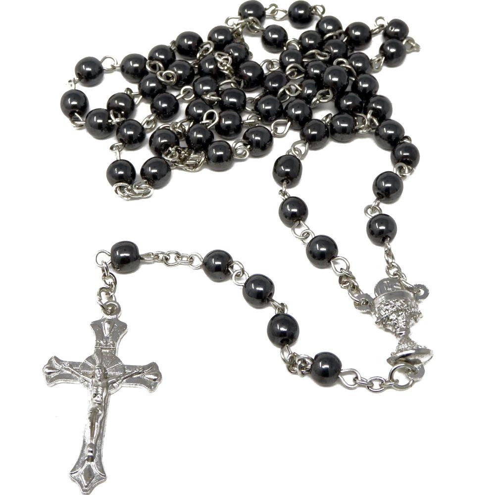 Round hematite 48cm length rosary beads