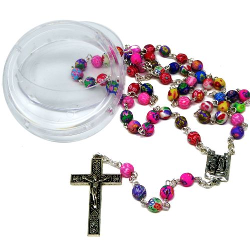 Polymer clay flower pink tones rosary beads silver chain 51cm in box