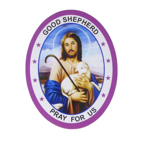 Good Shepherd Pray for us Jesus double sided window sticker 9.2cm