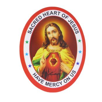 Sacred Heart of Jesus Have Mercy on Us double sided window sticker 9.2cm