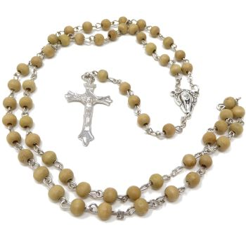 Medium Brown wood round beaded rosary 55cm
