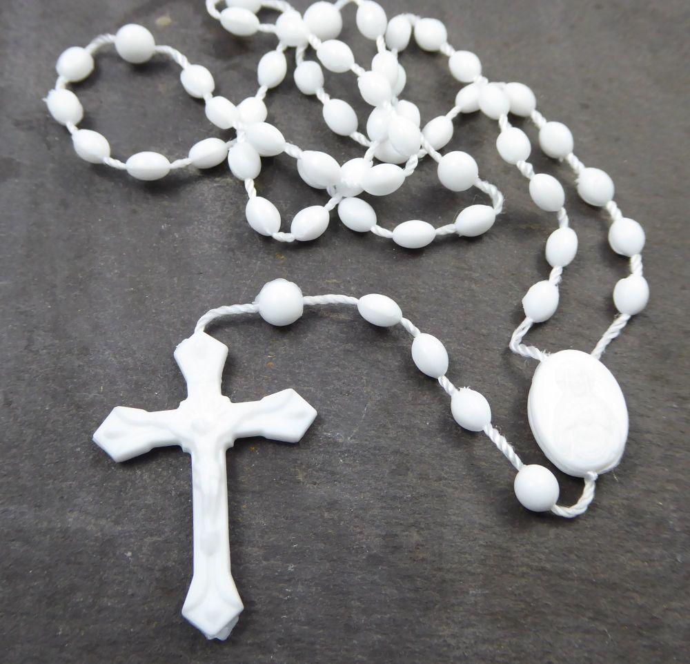 White plastic basic oval rosary beads 42cm length