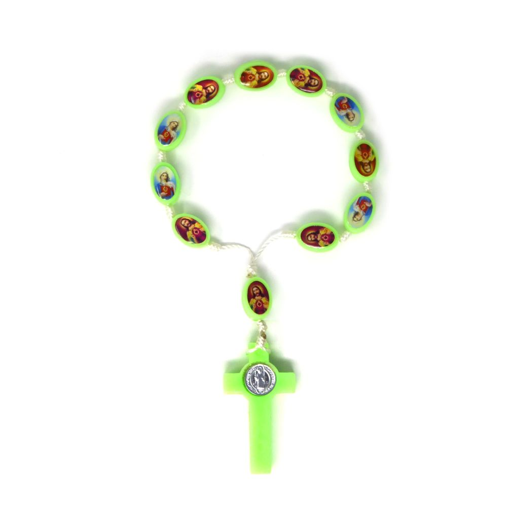 Light green plastic 1 decade rosary beads Twin hearts Sacred Immaculate Jes