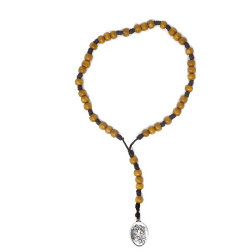 St. Michael chaplet rosary beads brown wood on cord small wood