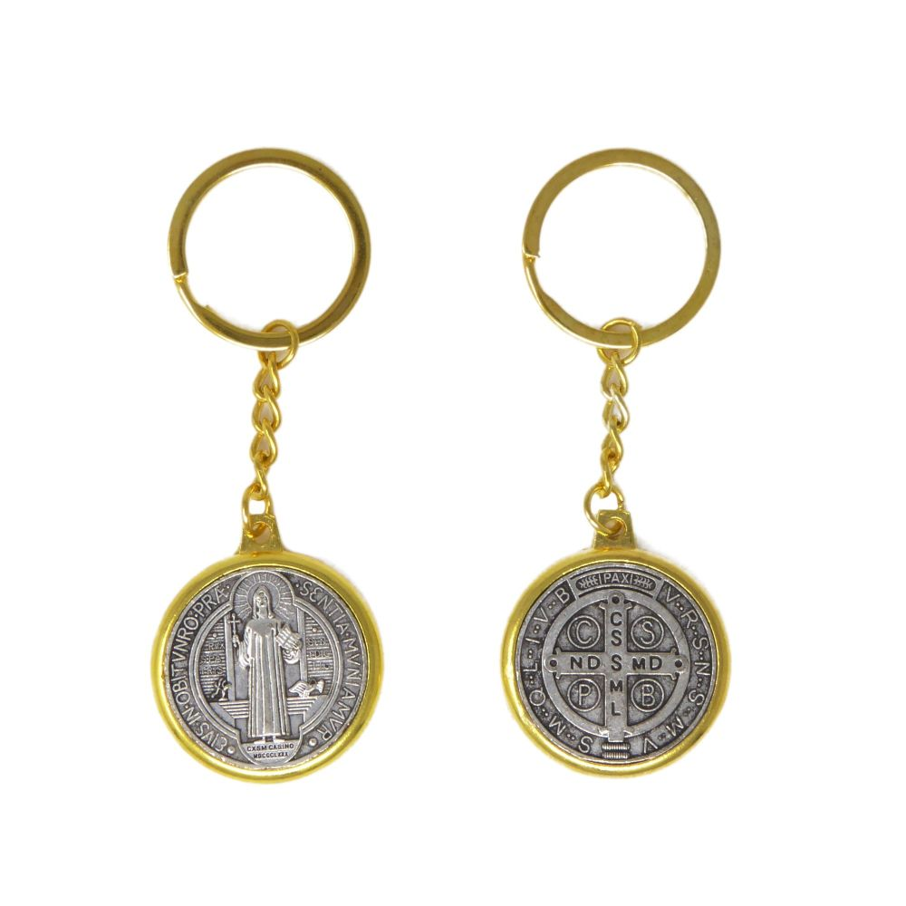 Round brass silver St. Benedict medal keyring 4cm