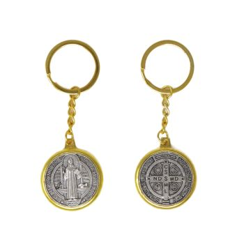 Round brass silver St. Benedict medal keyring 4cm