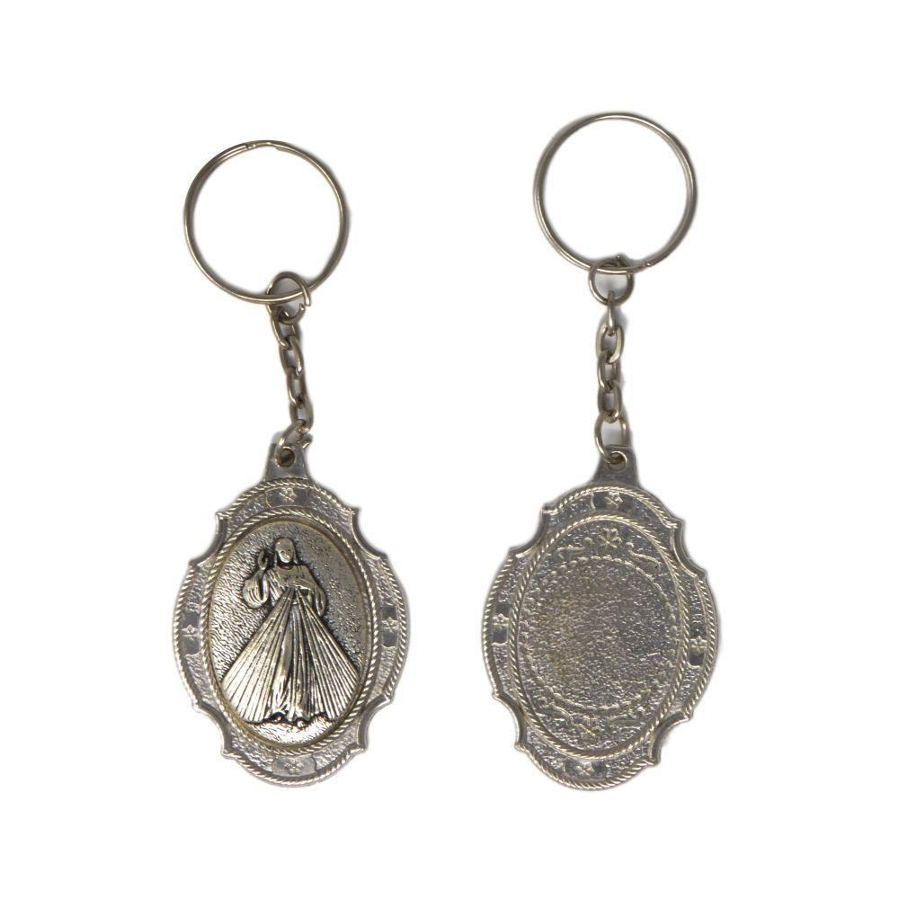 Divine Mercy of Jesus keyring silver metal 10cm