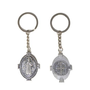 Silver metal double sided 10cm St. Benedict key chain