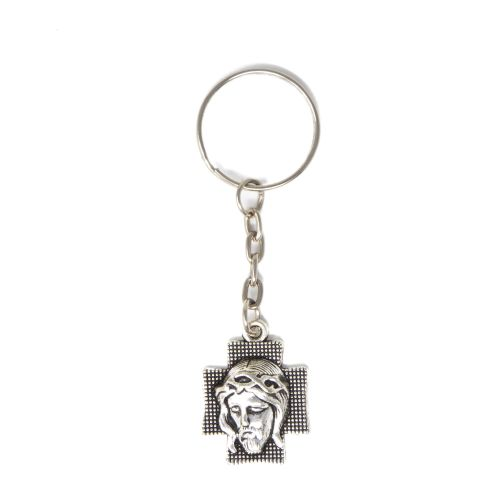 Small sacred face of Jesus cross keyring silver metal 8cm