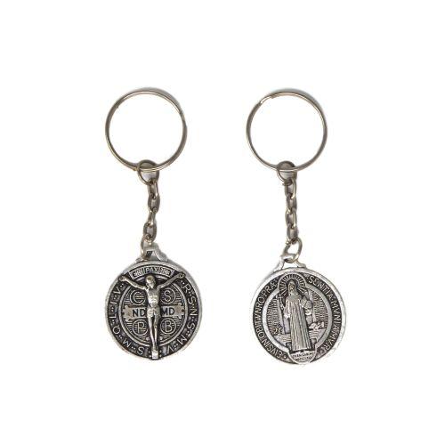 Silver metal Saint Benedict medal raised Jesus keyring 9cm