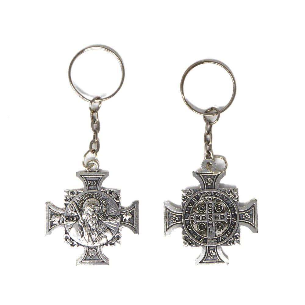 Sanctus Pater Benedictus keyring cross shaped silver metal 10cm