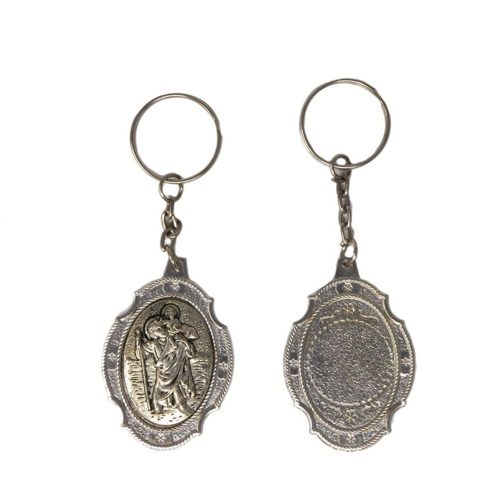 St. Christopher safe travel Catholic keyring gift 10cm