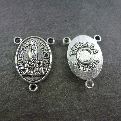 Our Lady of Fatima silver metal center 2cm