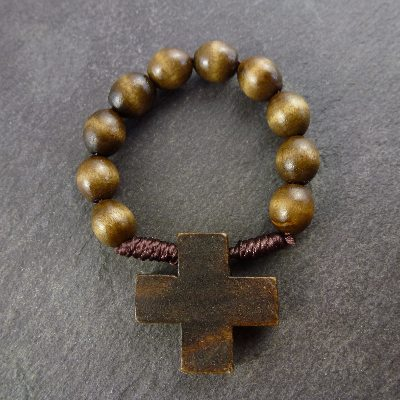 Brown wooden one decade rosary ring
