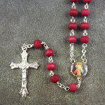 Red wooden rosary 6mm beads Saints center 49cm long