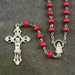 Red wooden rosary 6mm beads 49cm long