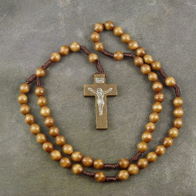 Dark brown wooden cord rosary beads - 38cm length