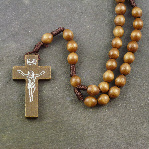 Dark brown wooden cord rosary beads - 38cm length