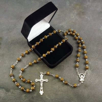 Brown wooden carved rosary in black flock gift box 50cm length