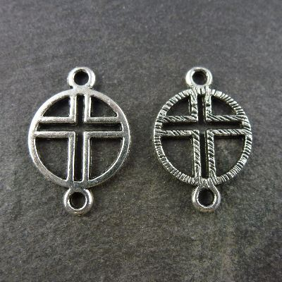 2cm silver metal cross Our Father pater bead rosary part connector